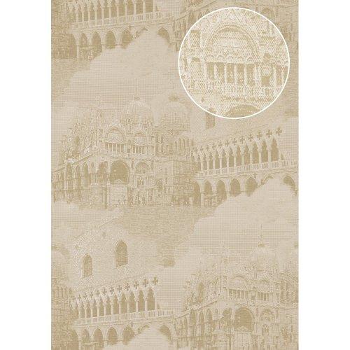Atlas SIG-582-3 Graphic wallpaper metallic highlights cream grey 5.33 sqm