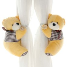 1 Pair of Cartoon Bear Curtain Hold Backs Curtain Tieback for Kids Bedroom, Yellow