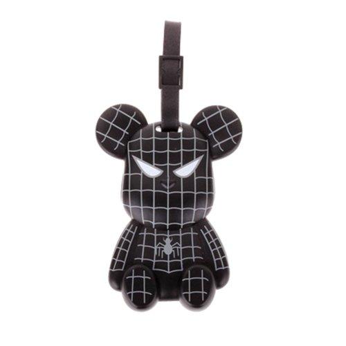 Fashional Luggage Tag Bag Tags Silicone Name Tag Travel Tag [Black Spider Bear]