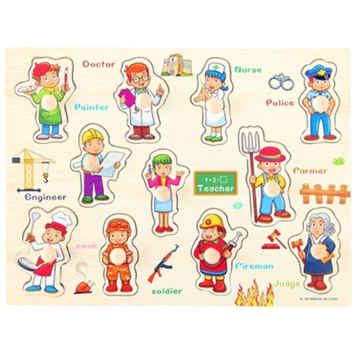 Wooden Kids Playschool Preschool Puzzled Educational Toy Puzzle,Occupation