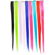 "Neon UV Hot Bright Coloured Clip In Hair Extensions 20"" Fashion Fancy Dress Rave[Red]"