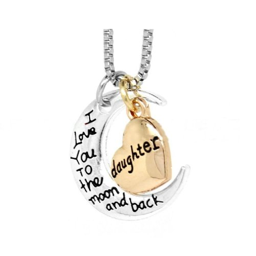 Silver-Tone 'Daughter I Love You To The Moon And Back' Engraved Pendant Necklace 2.0 x 2.0cm With 18 Inch Chain