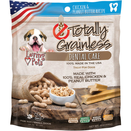 Totally Grainless Dental Bones For Large Dogs 6oz-Chicken & Peanut Butter