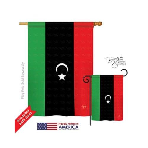 Breeze Decor 08252 Libya 2-Sided Vertical Impression House Flag - 28 x 40 in.