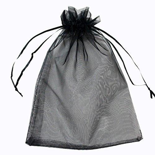 G2plus 100pcs Organza Gift Bags Jewelry Pouches Wedding Favor Drawstring Bag 10cm 15cm Black