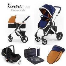 Tutti Bambini Riviera Plus 3 in 1 White Travel System - Midnight Blue/tan