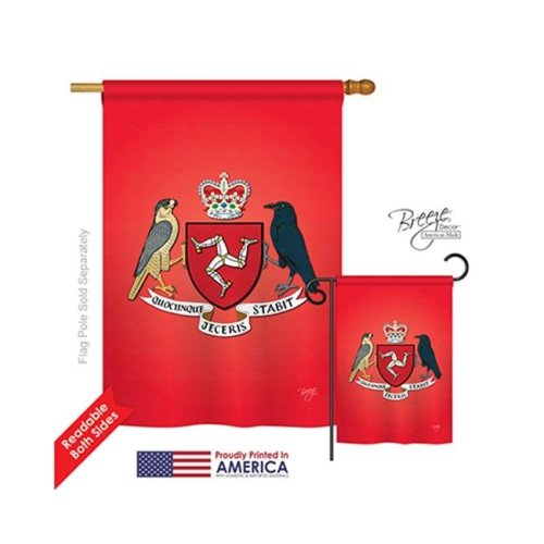 Breeze Decor 08200 Isle of Man 2-Sided Vertical Impression House Flag - 28 x 40 in.