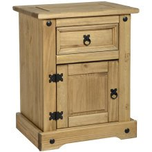 ANDALUSIA - Side Table / Bedside Table / Nightstand with Drawer and Cupboard - Antique Pine