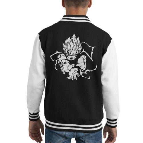 Goku Super Saiyan White Print Dragon Ball Z Kid's Varsity Jacket