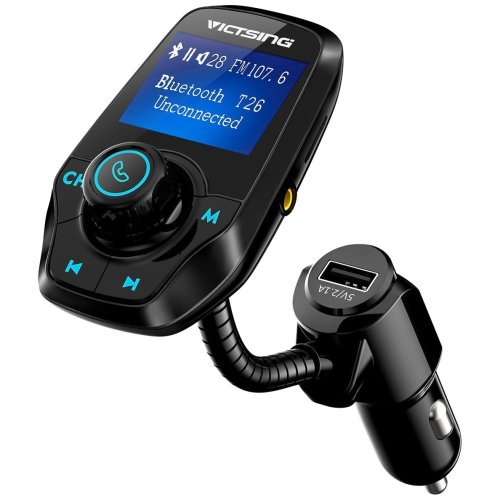 [Upgraded Version] FM Transmitter, VicTsing Bluetooth Car MP3 Player Radio Adapter Hands-free Talking Car Kit with Dual USB Port and 3.5mm Audio...