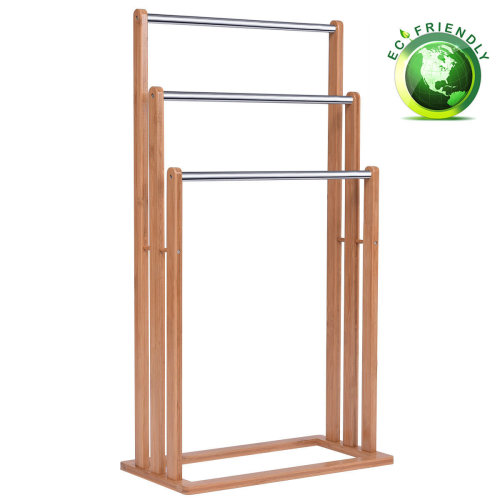 3 Tier Bamboo Towel Rack Freestanding Rail Holder Shelf