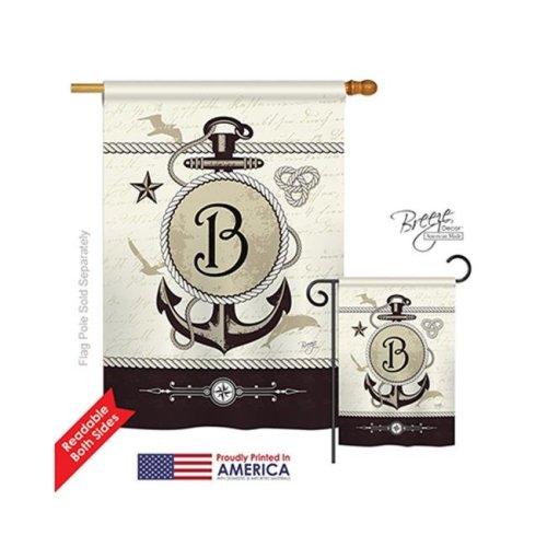 Breeze Decor 30184 Nautical B Monogram 2-Sided Vertical Impression House Flag - 28 x 40 in.