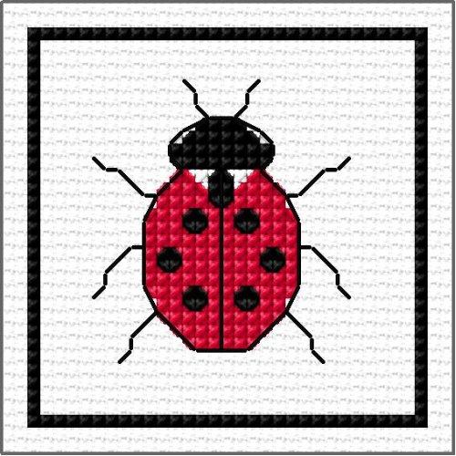 DoodleCraft Minis - Counted Cross Stitch & Blackwork Kit - Ladybird