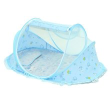 Foldable  Insect Netting Cribs Mosquito Net with Mat-Blue