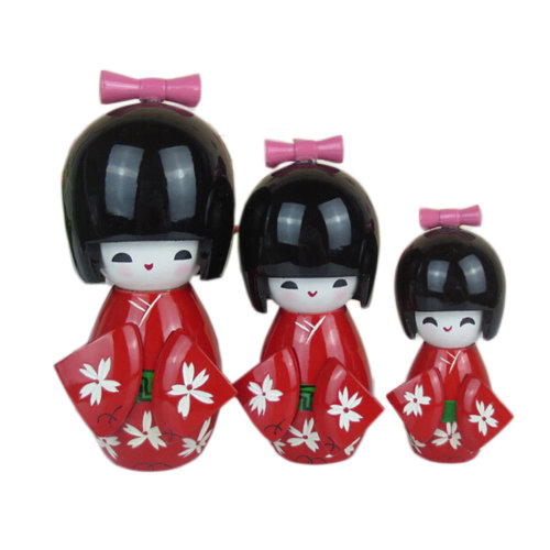 3 Pcs Lovely Japanese Kimono Girl Wooden Dolls With Cherry Blossoms, Red