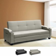 Sofa Bed 2 Seats in Faux Leather with Reclining Backrest and Storage AMBER
