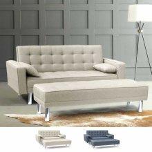 Sofa Bed 2 Seats with Footstool Armrest & Cushions AGATA PLUS