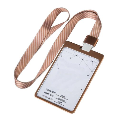 Aluminum Alloy Vertical Style ID Card Badge Holder with Neck Lanyard Strap 3PCS, 17
