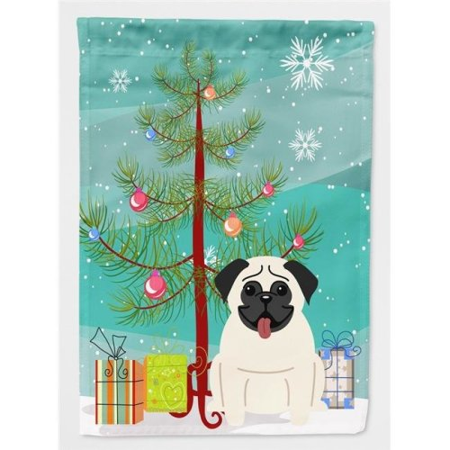 Carolines Treasures BB4129GF Merry Christmas Tree Pug Cream Flag Garden Size