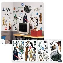 Childrens Bedroom Nursery Star Wars Wall Stickers Removable Repositionable Gift