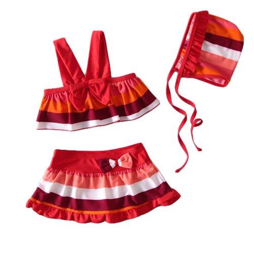 Stripe Pattern Girl Bikini Girls Two-Piece Swimsuit Swimwear, 19-22.5 kg