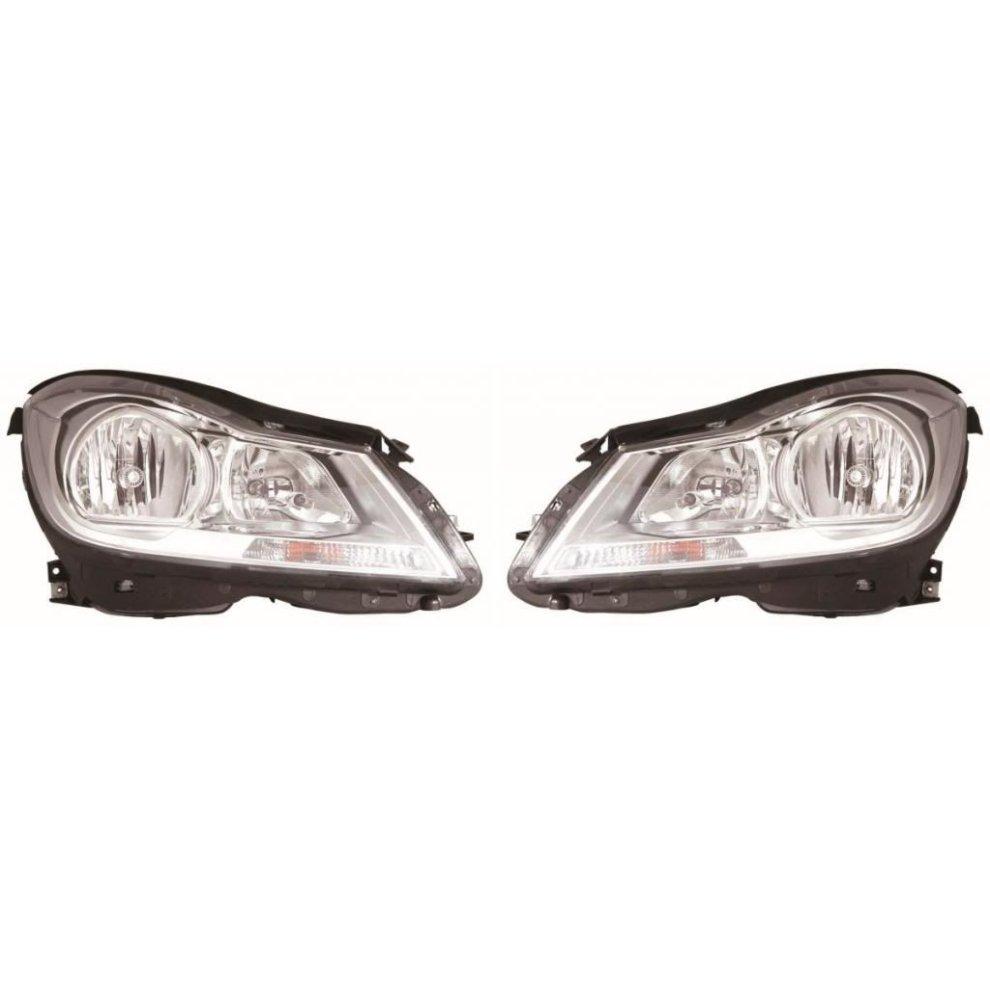 Mercedes C Class S204 Estate 2011-2014 Chrome Headlights Headlamps 1 Pair