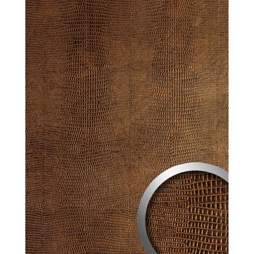 WallFace 12894 LEGUAN Wall panel leather selfadhesive copper-brown | 2.60 sqm
