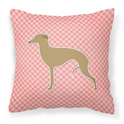 Carolines Treasures BB3614PW1818 Italian Greyhound Checkerboard Pink Fabric Decorative Pillow