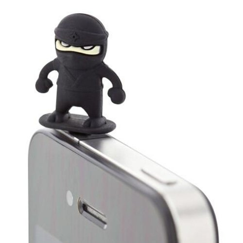 3 Pcs 3.5mm Cell Phone Universal Dust Plug Cartoon Ear Cap BLACK Ninja
