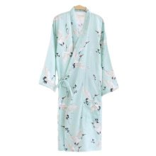 Japanese Style Women Thin Cotton Bathrobe Pajamas Kimono Skirt Gown-A17