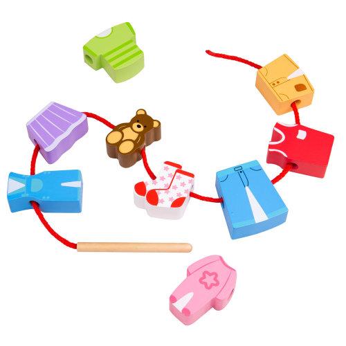Bigjigs Toys Wooden Lacing Laundry - Threading Toys
