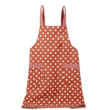 Japanese Style Cotton & linen Simple Cloth with Pocket Unisex Cooking Aprons, Red