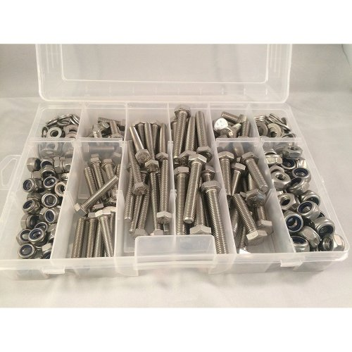 M8 and M10 ASSORTED BOLTS NYLOC NUTS AND WASHERS KIT SET A2 STAINLESS STEEL