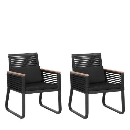 Surprising Set Of 2 Garden Chairs Black Canetto Gmtry Best Dining Table And Chair Ideas Images Gmtryco