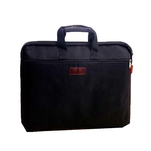 Portable Document Bag Zipper Bag Multi-layered Data Bag Briefcase, Black-6
