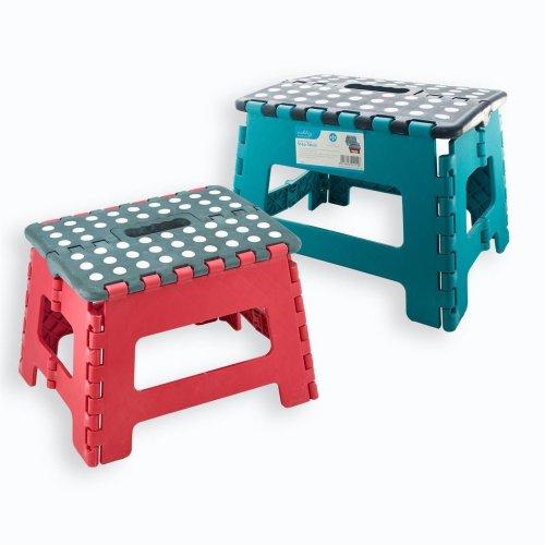 Vinsani Folding Step Stool Plastic Multi Purpose Home Kitchen Foldable Easy Storage with Handle