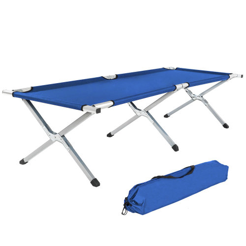 3 camping beds made of aluminium blue