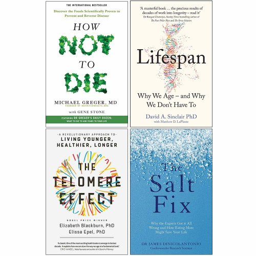 How Not To Die,Salt Fix,Telomere Effect 4 Books Collection Set