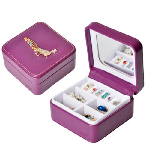 Jewelry Box Rings Earrings Necklace Organizer Display Storage Case with Rhinestone for Travel, B