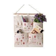 4-Pockets Zakka Wall Door Closet Hanging Storage Bag Case Home Organizer, Girls