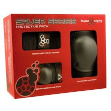 Triple 8 Saver Series Wristsavers/Kneesavers/Elbowsavers (Black, Junior, 3 Pack)