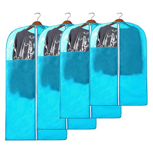 4 PCS Fashion Garment Bags Clothing Dustproof Bag Set Clothes Dust Cover Blue
