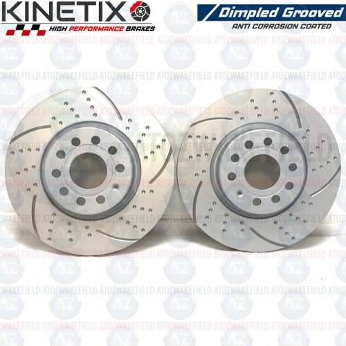 FOR VW GOLF GTD MK7 FRONT KINETIX DIMPLED GROOVED BRAKE DISCS PAIR 312mm COATED