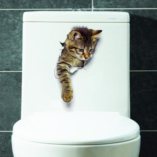 3D Cute Cat Wall Stickers Toliet Stickers  Decorations Creative Animal Wall Stickers Decorate Your Home Like A Makeup Artist