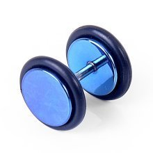 Urban Male Men's 10mm Blue Plated Stainless Steel Fake Ear Expander Plug Stud Earring