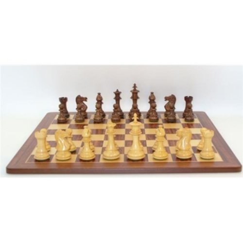 WW Chess 42SR-PM 2.2 in. sq. Sheesham & Boxwood Royal Double Weighted Padauk, Maple Inlaid Veneer Board