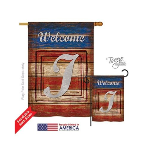 Breeze Decor 30113 Patriotic I Monogram 2-Sided Vertical Impression House Flag - 28 x 40 in.
