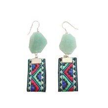 Retro Ladies Earrings Artificial Gem Tassels Stud Earrings Womens Jewelry, G