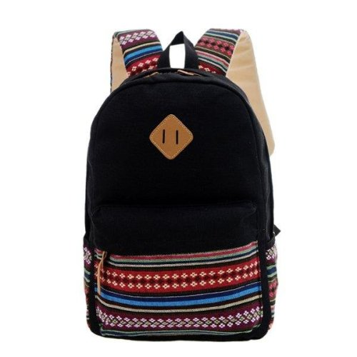 Women Canvas Pig Nose Folk Travel Backpack Students Backpack Book Bags