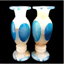 Pair of Onyx Marble Vases Gemstone Ornaments